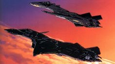 The YF-21 and YF-19 coasting together towards the end of Macross Plus.