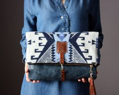 8373306e36 Leather fold over clutch fold over bag native by VitalTemptation กระเป๋า