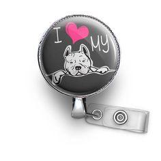 Cute I ♥ My Pitbull Retractable ID Badge Reel