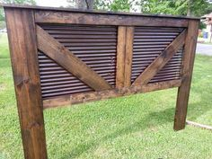 King size barn headboard my husband and I made with tin from an old barn.