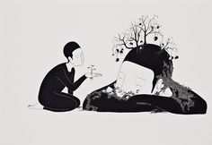 The in Seoul and Vienna living graphic designer Daehyun Kim, known as 'Moonassi' is specialized in traditional East Asian art and paintings. His beautiful minimalistic. Art And Illustration, Illustrations, Botanical Illustration, Korean Art, Asian Art, Daehyun, Black And White Drawing, Black White, Anaconda