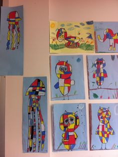 Fun with Mondrian. This past September we studied Mondrian as one of our line study lessons and of course primary c. Artists For Kids, Art For Kids, Kid Art, Online Art School, Artist Project, 2nd Grade Art, Ecole Art, Art Lessons Elementary, School Lessons