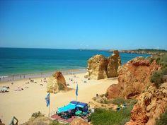 Beautiful Praia do Alemao in Faro, Portugal, is a wonderful sandy beach!