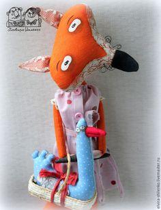 Купить Лиса с гусем настенная игрушка - рыжий, лиса, лисичка, гусь, примитив, авторская работа