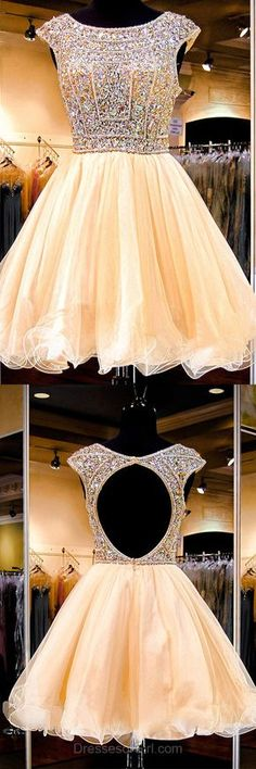 Open Back Prom Dress, Tulle Prom Dresses, Yellow Homecoming Dress, Princess Homecoming Dresses, Beaded Cocktail Dress