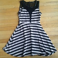 Black and beige striped dress. Worn once. In great condition. Dresses Midi