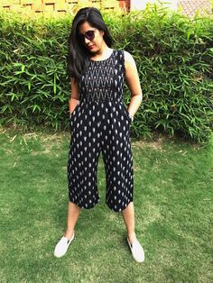 Black Ikat Jumpsuit From The House Of Threeness. Featuring A Simple And Elegant Black Kalamkari Dresses, Ikkat Dresses, Western Dresses For Women, Frock For Women, Kurta Designs Women, Blouse Designs, Frock Fashion, Fashion Dresses, Women's Fashion