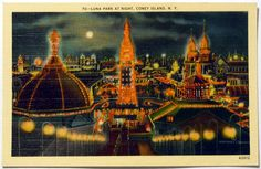 Colors- Inspiration: Coney Island NY Luna Park At Night Vintage Linen by OakwoodView