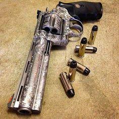 """By @illmanneredgunrunner707 Engraved Colt .44 Magnum Anaconda 6"""" Revolver. #colt #anaconda #44magnum #magnum #revolver #handgun #cannon #pistol #firearm #gun #guns #gunporn #gunsdaily #guncontrol..."""