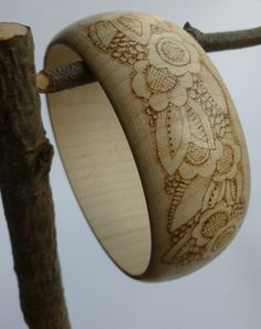 Wooden bracelet decorated with pyrography - Art Deco style £15.00