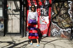 Super #LeandraMedine spotted in #StellaJeanSS16 purple, red and blue raffia skirt Emoticon heart  #StellaJean #SS16 #SpringSummer16 Man Repeller #EthicalFashion #EthicallyEnvisioned Stella Jean