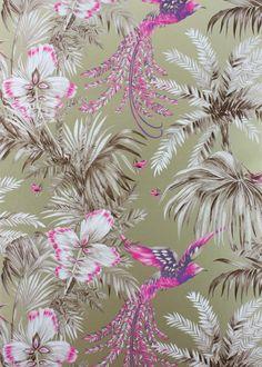 Gold & Pink Bird of Paradise Wallpaper