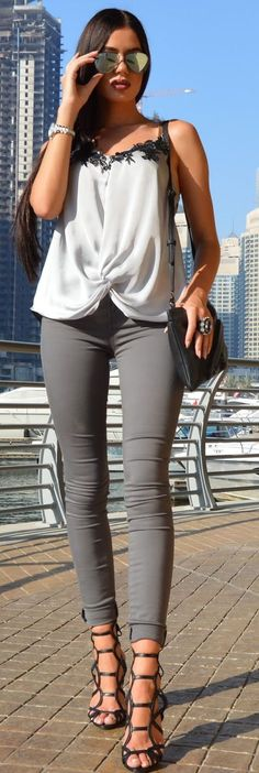 Casual Shades Of Gray Fall Inspo by Laura Badura Fashion