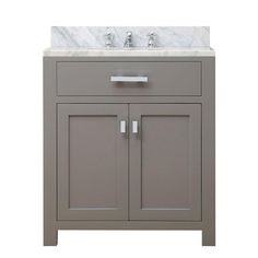 Water Creation 30 in. W x 21 in. D x 34 in. H Vanity in Cashmere Grey with Marble Vanity Top in Carrara White