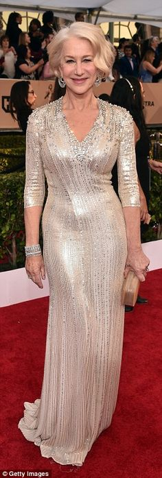 Dazzling: Helen wowed in a silver number that proved age is nothing but a number