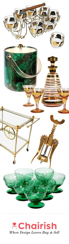 Snag a matching set of vintage stainless barware for the holidays. Feeling girly? Stick to a color theme and stock mint green glassware, tongs and ice bucket. Chairish's selection of vintage and used barware is only as limited as your imagination. Shop now for unique barware to express your individuality.