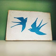 Two Swallows Birds Handmade Wooden Sign Plaque Shabby Hipster Art Present Gift | eBay