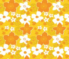 Mod Floral Yellow and Orange fabric by vinpauld on Spoonflower - custom fabric