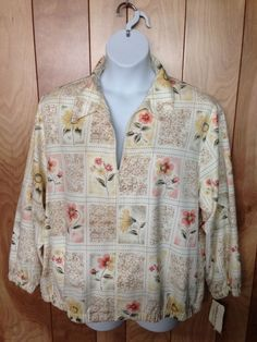 WOMEN'S ALFRED DUNNER PETITE WOMAN FLORAL ZIP-UP JACKET-SIZE: 22WP #ALFREDDUNNER #BasicJacket