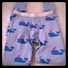 "Primp Long John Whale Leggings Super cute long john style whale leggings. Can be worn as a pajamas or even under jeans or pants in the winter for an extra layer of warmth in the winter . Size is "" P"" which I think stands for petite. They would probably fit an XS. Some of the whales have little jewels. Very cute  Primp Intimates & Sleepwear Pajamas"