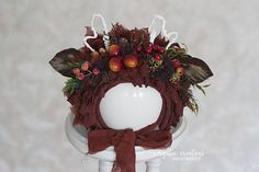 Brown baby fawn bonnet for 12-24 months old baby. Decorated