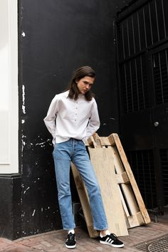 Meet AJ @ Ulla Models new face 2017. Wearing Vintage Levi's and Rika Studios shirt. Shot and Styled by Boy Frey Hair & Make-up by Emma Blok.