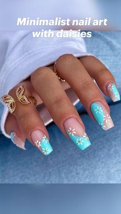 Summer Acrylic Nails, Best Acrylic Nails, Acrylic Nail Designs, Spring Nails, Summer Nails, Blue Nail Designs, Art Designs, Chic Nails, Stylish Nails