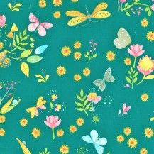 Nature Walk Little World Quilting Fabric - Teal