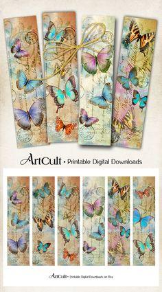 Descargar para imprimir imágenes vintage de mariposas marcadores Collage Digital hoja artículos de papel de regalo etiquetas imprimibles de arte ArtCult de la fuente