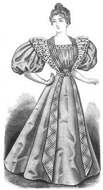 1890's evening dress. c.1896 ---shoulders and skirts begin to expand again