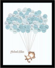 Ein hübsch Andenken in Ihren kleinen Affen Schlafzimmer hängen. Ihre Gäste einen Ballon auf die Baby-Dusche zu unterzeichnen, und fügen Sie