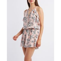 Charlotte Russe Ruffled Strappy Romper ($29) ❤ liked on Polyvore featuring jumpsuits, rompers, pink rompers, sleeveless rompers, floral print romper, floral rompers and charlotte russe
