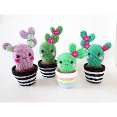 """Jennifer Santos on Instagram: """"Cacti, the only plants I can keep alive... And when they are made out of yarn it's even better!  . Crochet patterns available on Etsy…"""""""