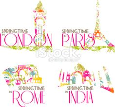 World monuments Royalty Free Stock Vector Art Illustration