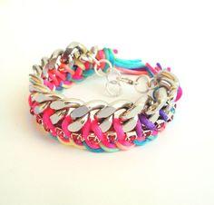 Neon multicolor Braided Chain Bracelet van katerinaki1977 op Etsy, $20.00