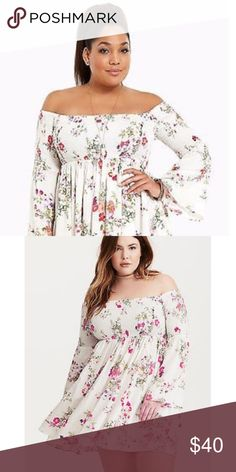 Torrid Floral Bell sleeve dress size 3 Gorgeous Torrid Floral off the shoulder dress with bell sleeves is romantic and beautiful for summertime fun! Brand new with tags this is in New condition with zero defects. Absolutely beautiful on! I would have worn it over jeans or leggings but it can be worn many different ways. Moving and pairing down my closet. torrid Dresses