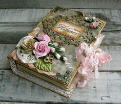 How incredible is this handmade, shabby chic wedding book/keepsake scrapbook Book Crafts, Diy And Crafts, Paper Crafts, Fabric Crafts, Altered Boxes, Altered Art, Mini Albums, Decoration Shabby, Flower Decoration
