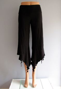 Cropped Black PIXIE Yoga Tribal Fusion Belly Dance Pants w/ Tattered Faerie Hem by LunarRoseDance, $46.00