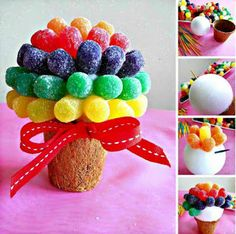 Pin by van duong on candies centros de mesa con dulces, golo Happy Birthday B, Birthday Parties, Sweet Trees, Candy Flowers, Troll Party, Candy Crafts, Chocolate Bouquet, Candy Bouquet, Fiesta Party