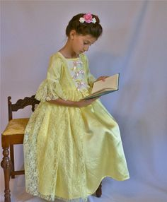 Girl's Yellow and Pink 18th Century Dress by bonnybluearts on Etsy, $85.00  #belle #beauty and the beast