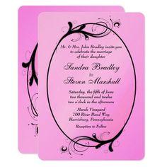 Elegant Pink Wedding Invitations 15% off with code ZAZZSENDLOVE