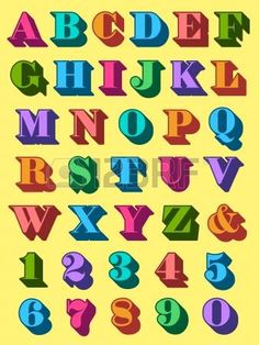 Complete alphabet and numerals set in colourful uppercase 3d font in the colours of the rainbow for use as typographic design elements in teaching, reading, writng and mathematics photo