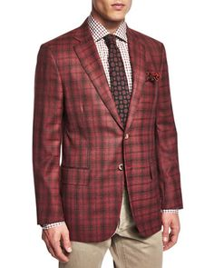 Dustin+Plaid+Two-Button+Sport+Coat,+Red/Brown+by+Isaia+at+Neiman+Marcus.