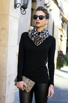 black on black with a pop of leopard