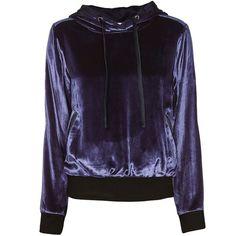 Fleur Du Mal Women's Silk-Lined Velvet Hoodie ($338) ❤ liked on Polyvore featuring tops, hoodies, navy, purple hoodies, sweatshirt hoodies, hooded pullover, purple hooded sweatshirt and navy hoodie