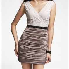 Express Belted Chiffon Ruched Dress