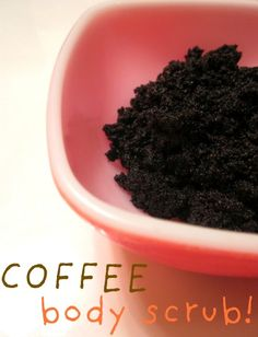 Coffee Body Scrub- Pinner says i do save all my coffee grounds and sometime rebrew and wash my hair with the coffee. Its a natural dye. Then after I have done that it goes to into body scrub mode. I keep on the counter in a ball glass jar. :)