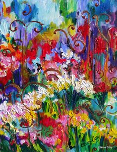 FLORAL+STUDY++II+Abtract+16+x+20+Original+Oil+by+ElainesHeartsong,+$225.00