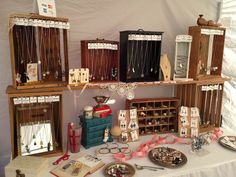 My set up at the last Treasure Island Flea Market in San Francisco, California. I use lots of vintage crates and silver to display my jewelry.