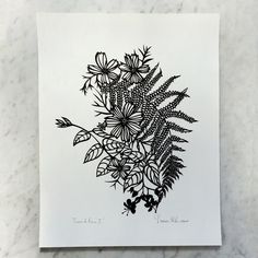 """Cosmos & Ferns I"" Original hand-cut papercut artwork: 11 x 14 inches"